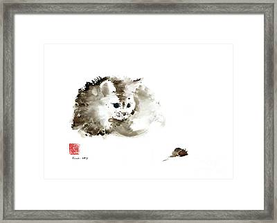 Cat Brown Grey Black Mouse Kitten Play Animal Animals Pet Pets Watercolor Painting Framed Print