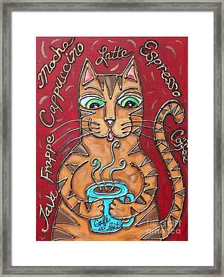Cat Cafe Au Lait Framed Print