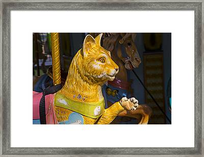 Cat Carrousel Ride Framed Print by Garry Gay