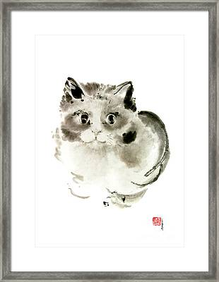 Cat Cats Kitten Funny Meow Animal Pet Ink Painting Framed Print by Mariusz Szmerdt