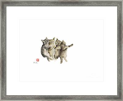 Cat Cats Photo Picture Brown Gray Little Funny Pic Meow Watercolor Painting Framed Print by Johana Szmerdt
