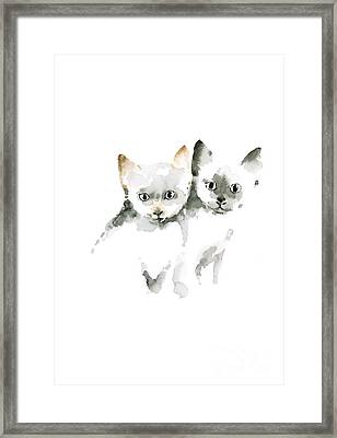 Cat Cats Photo Picture Brown Gray Little Funny Twins Pic Meow Watercolor Painting Framed Print