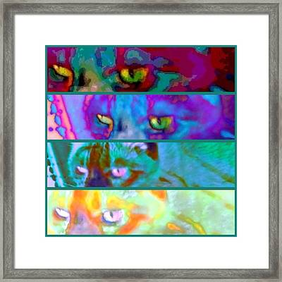 Cat Eyes Stacked - Square Framed Print
