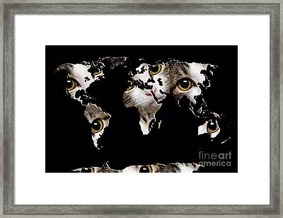Cat Eyes World Map 2 Framed Print by Andee Design