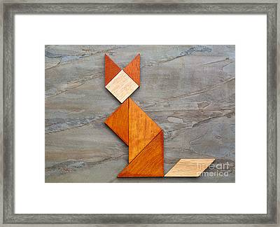 Cat Figure - Tangram Abstract Framed Print