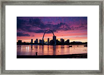 Cat Fishing Across From The Arch Framed Print by Garry McMichael