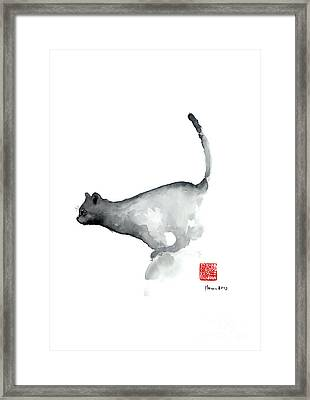 Cat Grey Black Blue Navy Funny Kitten Jump Meow Watercolor Painting Framed Print by Johana Szmerdt