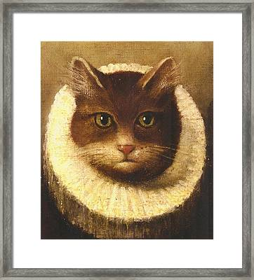 Cat In A Ruff Framed Print by Vintage Art
