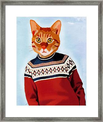 Cat In A Ski Jumper Framed Print by Kelly McLaughlan