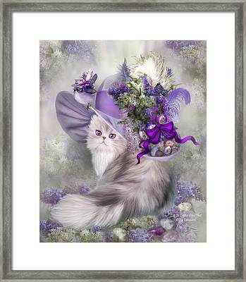 Cat In Easter Lilac Hat Framed Print