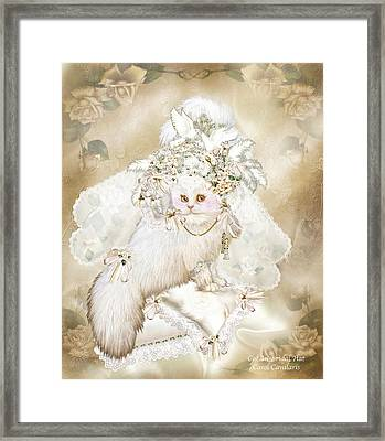 Cat In Fancy Bridal Hat Framed Print by Carol Cavalaris