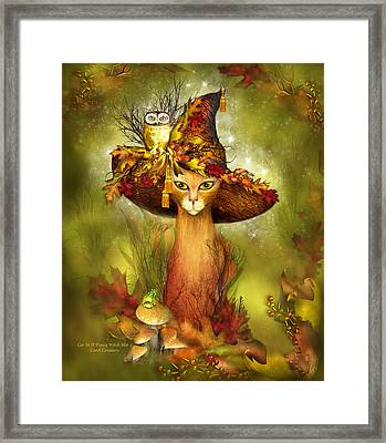 Cat In Fancy Witch Hat 3 Framed Print