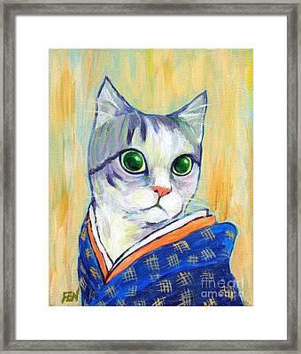 cat in kimono of Ukiyoe style Framed Print by Jingfen Hwu