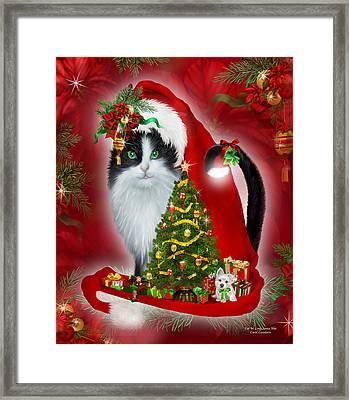 Cat In Long Santa Hat Framed Print by Carol Cavalaris