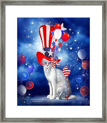 Cat In Patriotic Hat Framed Print