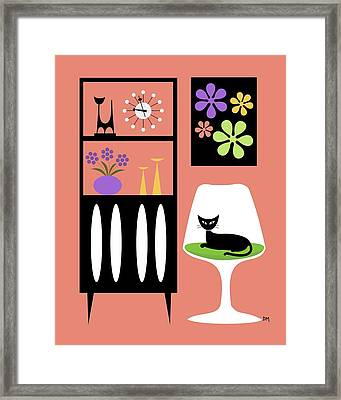 Cat In Pink Room Framed Print by Donna Mibus