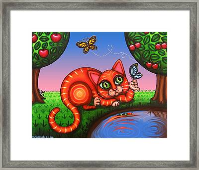 Cat In Reflection Framed Print