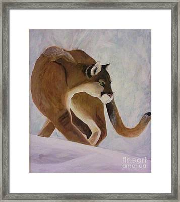 Framed Print featuring the painting Cat In Snow by Christy Saunders Church
