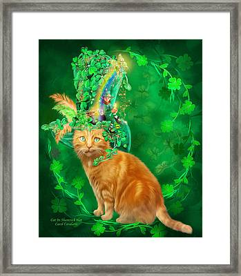 Cat In The Shamrock Hat Framed Print by Carol Cavalaris