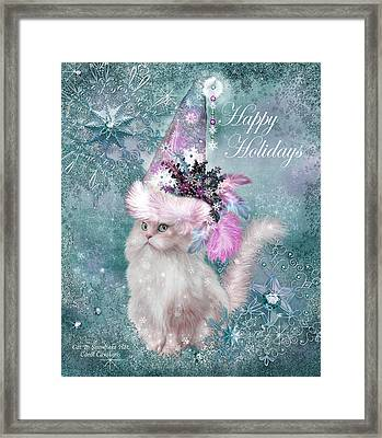 Framed Print featuring the mixed media Cat In The Snowflake Santa Hat by Carol Cavalaris