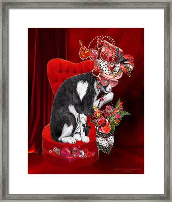 Cat In The Valentine Steam Punk Hat Framed Print