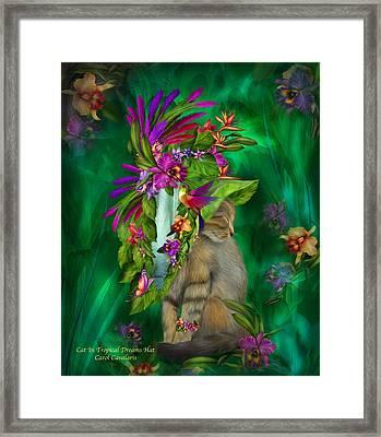 Cat In Tropical Dreams Hat Framed Print by Carol Cavalaris