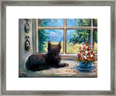 Cat In Window Framed Print