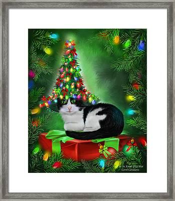 Framed Print featuring the mixed media Cat In Xmas Tree Hat by Carol Cavalaris
