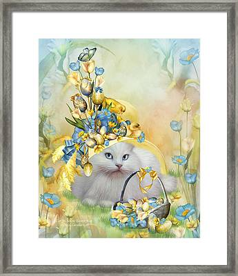 Cat In Yellow Easter Hat Framed Print by Carol Cavalaris