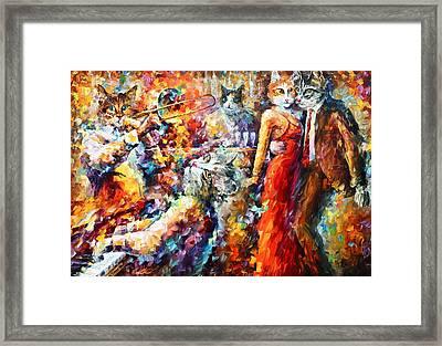 Cat Jazz Club Framed Print by Leonid Afremov
