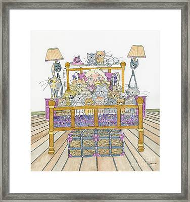 Cat Lady - In Bed Framed Print