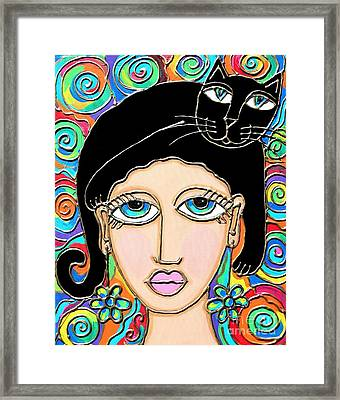 Cat Lady With Black Hair Framed Print