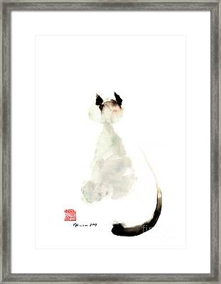 Cat Little Kittlen Syjamese White Cappuccino Black Grey Brown Meow Watercolor Painting Framed Print by Johana Szmerdt