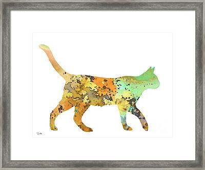 Cat Framed Print by Watercolor Girl