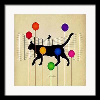 Wild Cat Digital Art Framed Prints