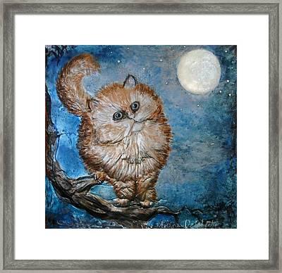 Cat Moon Crystal Night Framed Print
