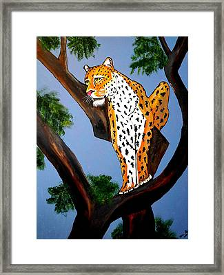 Cat On A Hot Wood Tree Framed Print