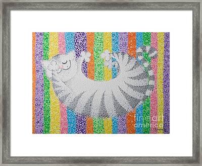 Cat On Rainbow Framed Print by Grass Hopper