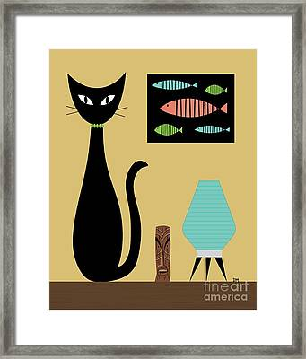 Cat On Tabletop Turquoise Lamp Framed Print