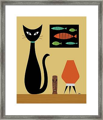 Cat On Tabletop Framed Print