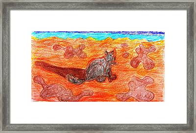 Cat On The Beach Framed Print by Anita Dale Livaditis