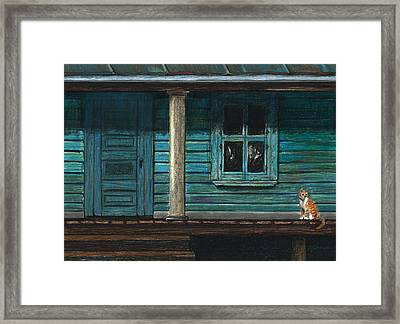 Cat On The Porch Framed Print by J Ferwerda