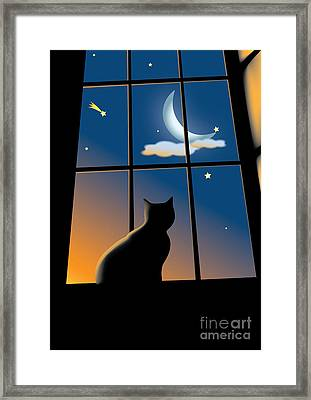 Cat On The Window Framed Print