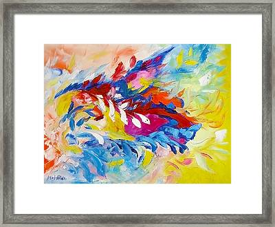 Cat Panther Painting Abstract Art Bright Colors Framed Print