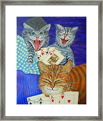 Cat Poker Framed Print by Dwain Ray