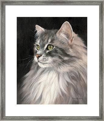 Cat Portrait Painting Framed Print by Rachel Stribbling