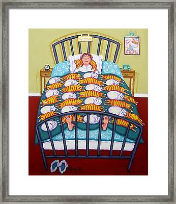 Cat Quilt Framed Print by Rebecca Korpita