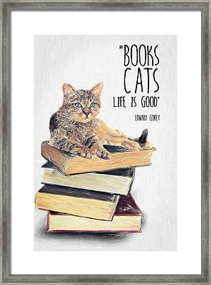 Cat Quote By Edward Gorey Framed Print by Taylan Apukovska