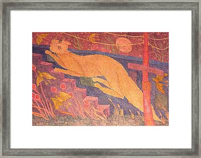 Cat Running Up Stairs Framed Print by Eleanor Arbeit