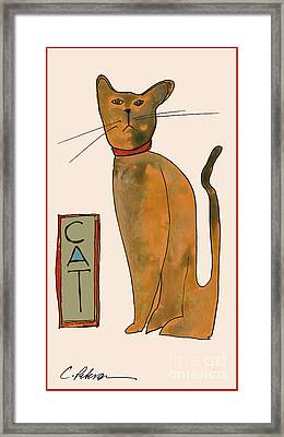 Cat.  Seated Orange And Gray With Straight Wiskers. Framed Print